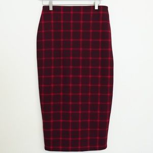 OLD NAVY RED PLAID PENCIL SKIRT